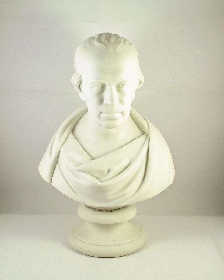 Antique 19th Century Parian Bust Of James Watt On Socle Base circa 1855
