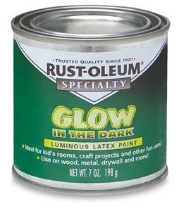 Here is the glow in the dark paint – use it on outside planters, fence posts, furniture, tree bases, poles, etc….the list is endless!