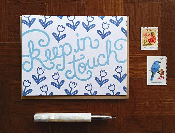 The perfect way to say hello or goodbye to someone!  Single 2-color letterpress folded note card, blank inside Single paper bag envelope  Hand drawn and printed by hand on antique presses at the Noteworthy letterpress studio, Noteworthy Paper & Press in Missoula, Montana. Printed