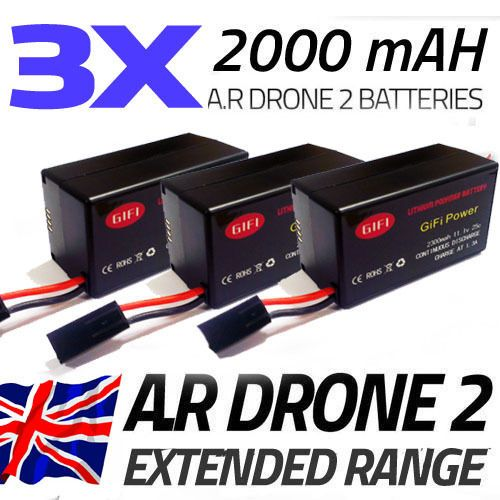 3 x 2000MaH Bigger Upgrade Replacement Battery for Parrot AR Drone 2.0 - http://www.midronepro.com/producto/3-x-2000mah-bigger-upgrade-replacement-battery-for-parrot-ar-drone-2-0/
