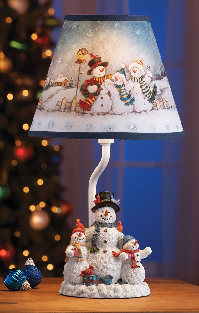 Details About Winter Snowman Family Table Lamp Christmas