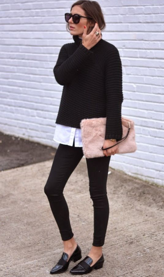 Black sweater + black pants + white shirt + faux fur clutch + flat shoes loafers for work