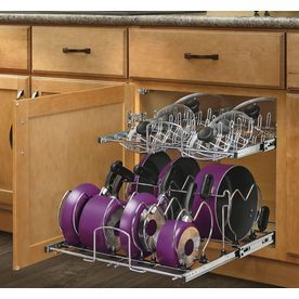 Rev-A-Shelf 20.75-In W X 18.13-In H Metal 2-Tier Cabinet Cookware Organizer Co-21C-2-5