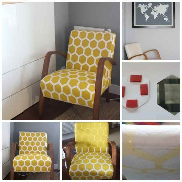 Painted Fabric Chair | Upholstery not your thing? Revive a fabric chair with paint, tape, and fabric medium instead, as donehere.