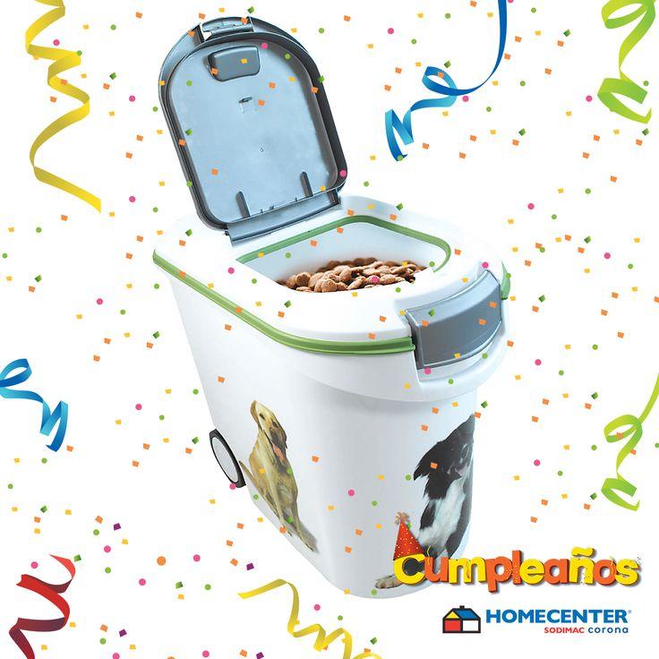 Gracias al #CumpleañosHomecenter podrás guardar la comida para tu mascota en recipientes como este, aprovecha.