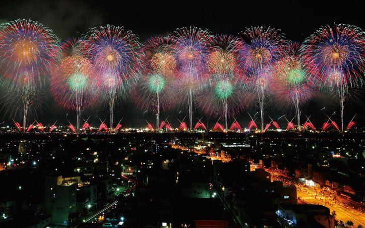 "The ""Phoenix"" fireworks display during the Nagaoka Fireworks Festival."