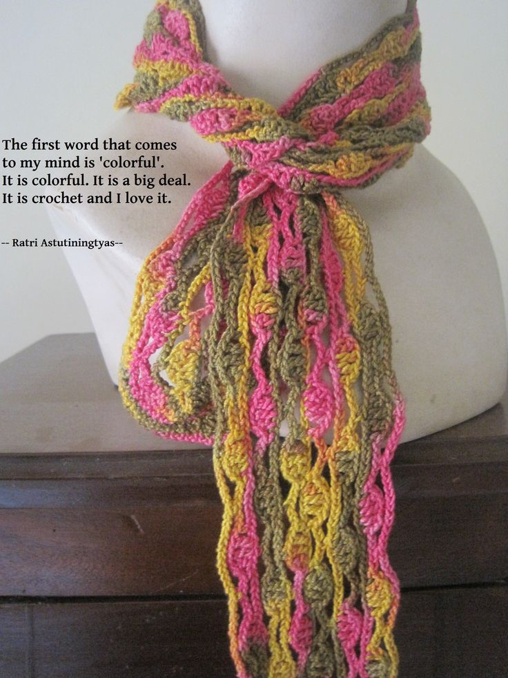 The first word that comes to my mind is 'colorful'. It is a big deal. It is crochet and I love it.