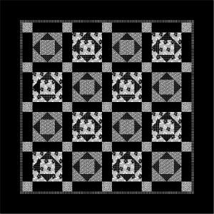 """Week 6: Moods a black & white quilt designed for those teenagers who love black. Each block measures 12"""" x 12"""" and is made in two different colorways."""