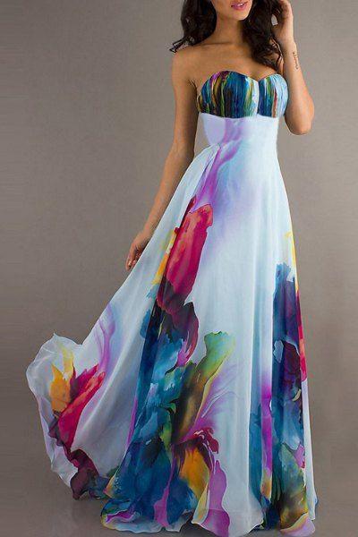 Vestido largo elegante sin tirantes sin mangas impresión floral de la Mujer