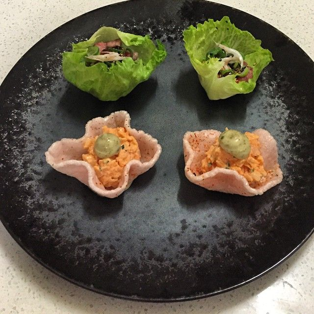 Prawn cracker, pickled prawn, yuzu, kombu cream & BBQ duck Ssam, salted shrimp, gochujang