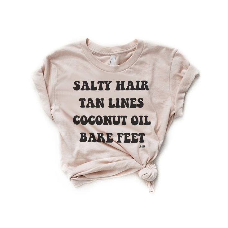 Salty Hair & Tan Lines – Women's FITTED Crew Neck Tee Ivory t-shirt, printed by hand with eco-friendly, water based ink. - Super soft WOMEN'S FIT, runs SMALL SIZE UP ONE for a more relaxed fit - Light