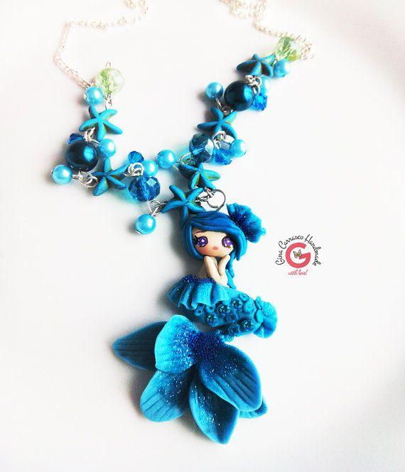 Zeemeermin ketting, Mermaid sieraden verklaring sieraden, zeemeermin pop, zeemeermin staart starfish ketting, turquoise jewelry, turquoise zeemeermin