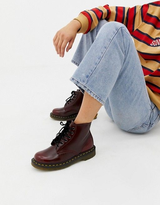 01c82912bb0 Dr Martens Vegan 1460 Red Chrome Flat Ankle Boots | what to wear ...