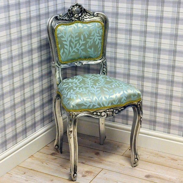 Antique Silver Finish Louis Bedroom Chair With Duck Egg Leaf Fabric