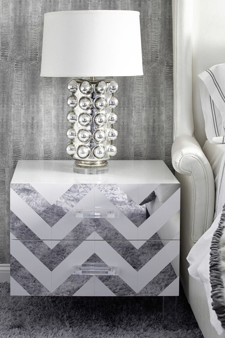 Metallics shine with a chevron mirror side table, mercury glass lamp & wallpaper  Bedroom  Vignette  Design Detail  Contemporary  Coastal by Laura Michaels Design