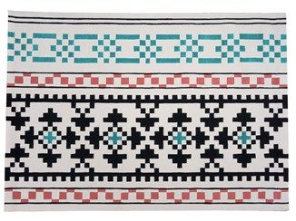 Handmade rectangular wool rug with geometric shapes RESTLESS - Dare to Rug