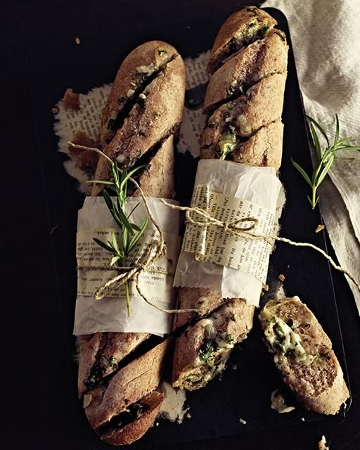 Sweet Paul's Cheesy Garlic  Herb Butter Baguettes -- perfect for #SuperBowl