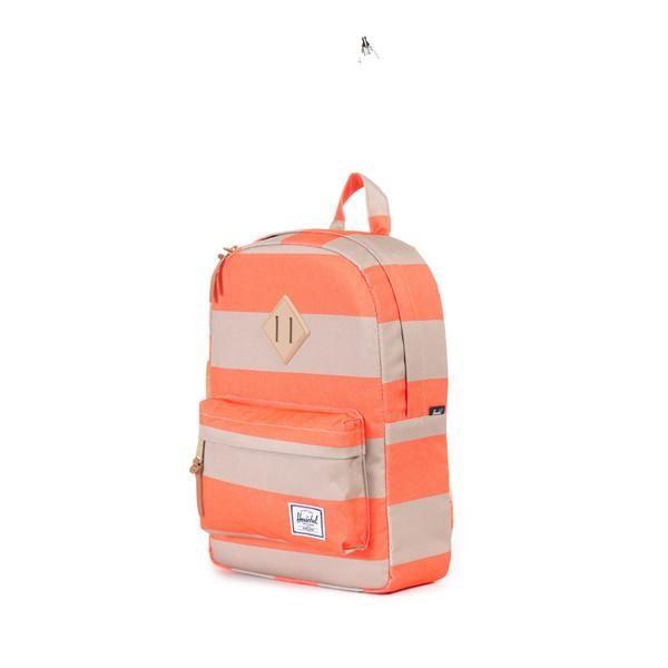 Herschel Kids Backpack, Heritage, Neon Orange Stripe/Khaki Rubber