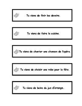 Venir de + infinitif, jeu de mime, French charades game