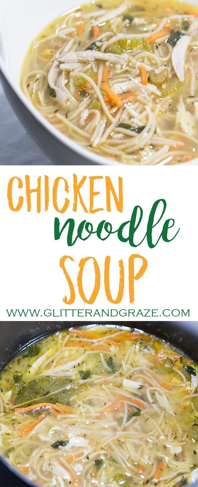There is nothing like a big bowl of warm chicken noodle soup on a cold day. This one is packed with flavor and is nice and hearty. #chicken #chickensoup #soup #chickennoodle