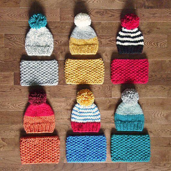 ensemble-cadeau bébé ou bonnet kid et laine cowl par nanoutriko