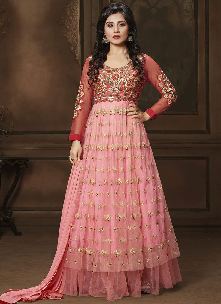 Pink Rimi Sen Floor Length Anarkali Suit