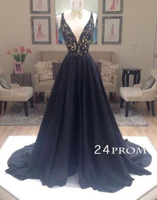 Black A-line V Neck Lace Long Prom Dress,Formal Dresses