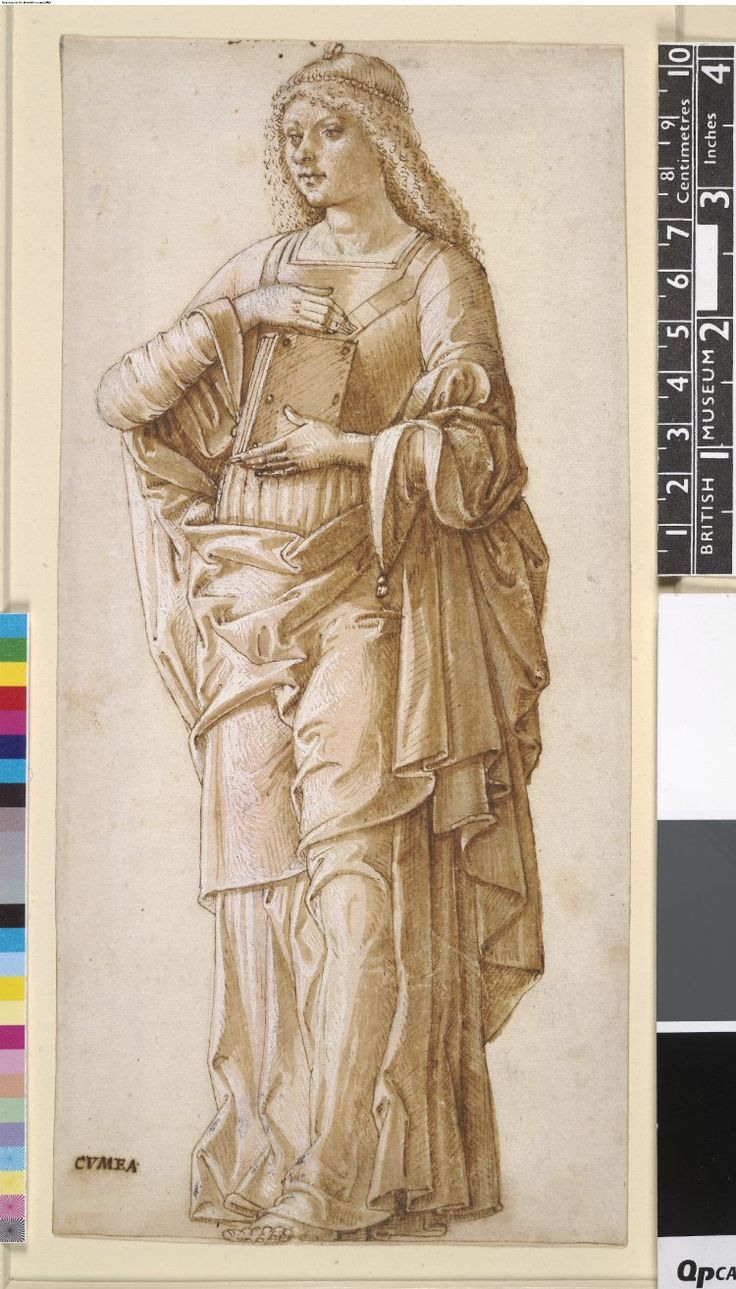 The Cimmerian Sibyl, formerly in an album; whole-length standing to half-l, holding a book against her chest in both hands Pen and brown ink, with brown and pink wash, heightened with white (partly oxidised)