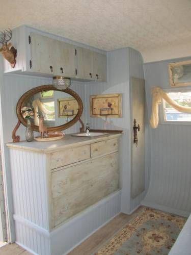 shabby chic interior of a '64 skyline custom camper