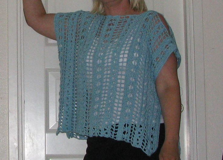 Crochet ponhco, yarn Novita Bambu, pattern here http://us.schachenmayr.com/free-patterns/ladies-crochet-top