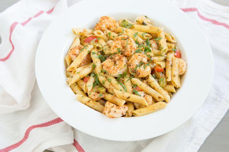 This Cajun shrimp pasta is the ultimate comfort food.  Simone Manuel's favorite dish