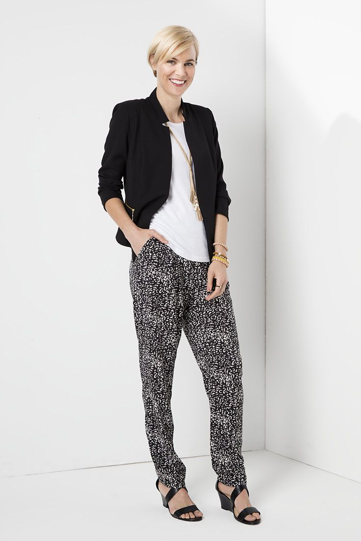 Mix it. Match it. dressing down the blazer, with a white tee and printed tapered pants. #monochrome