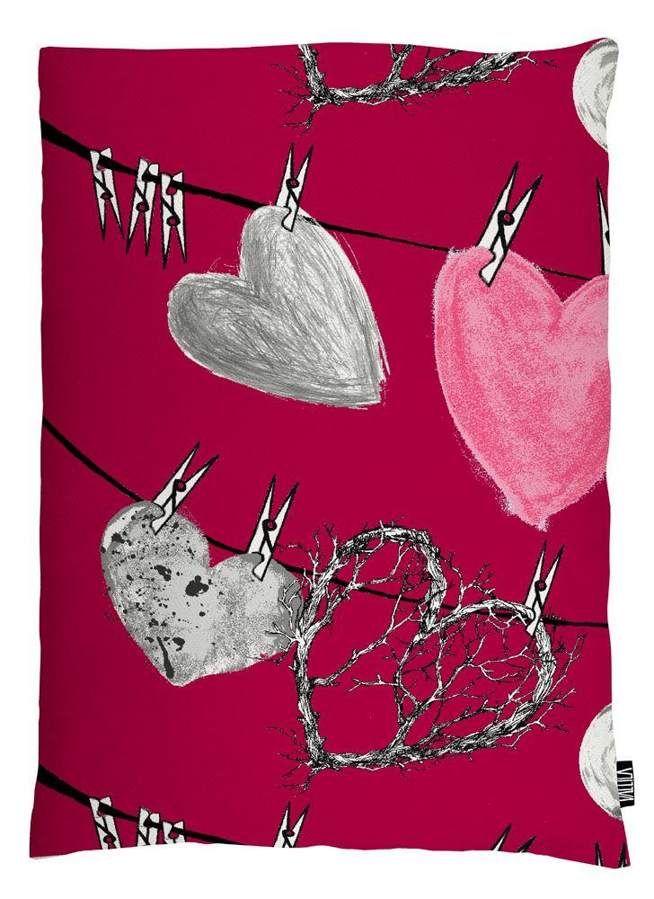 Vallila Interior AW14, Hehku cushion cover 60x80cm red by Lauri Tähkä Heartdesign