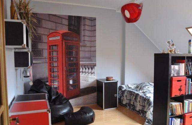 jugendzimmer ideen-deko-junge-rote-telefonzelle-fototapete, Schlafzimmer design