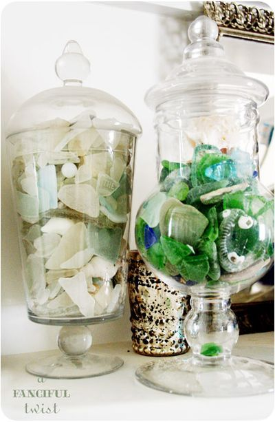 """Great Idea from A Fanciful Twist! Keep all those itty bitty treasures you collect along a walk on the beach or a hike through the woods in a lovely glass container! """"Visible Memories"""". LOVE IT!"""