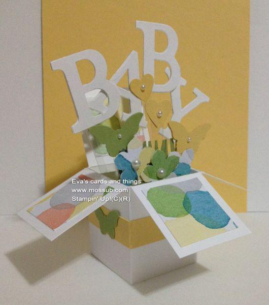 Gelukkige Baby! Mini Melk Doos met kleurrijke aquarel accenten. #stampinup