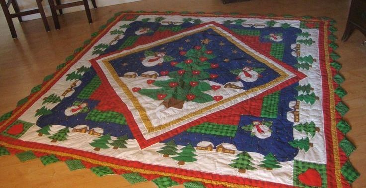 "Vintage Christmas Quilt Handmade Snowman Angels Cottage LARGE Coverlet 84"" x 88"" #Unbranded"