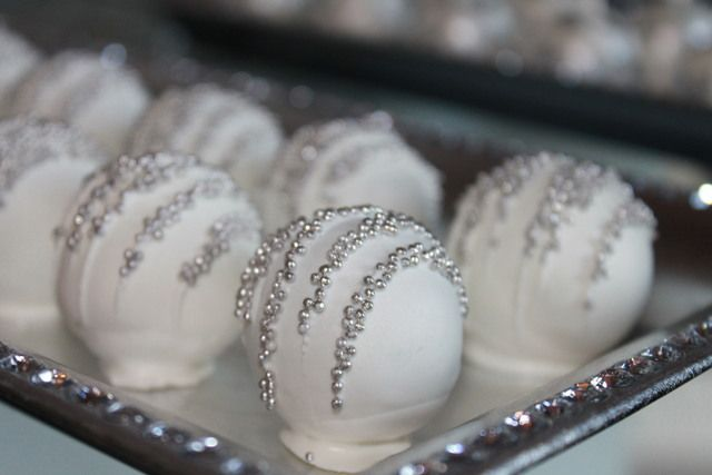 Cake balls at a Silver Christmas Party #silver #christmastreats