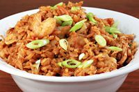 Nasi goreng - Indonesian fried rice; have fixed it for years and my family loves it.  Our recipe has just a little variation, but this is very close