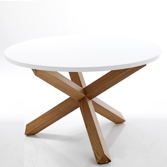 Tavolo rotondo gambe incrociate legno