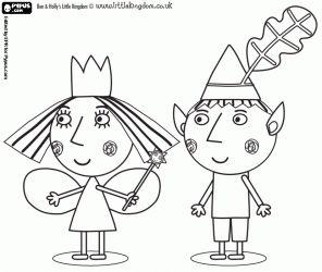 Colorear Ben y Holly, el duende y la princesa hada