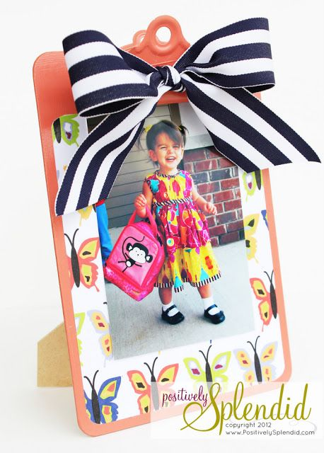 Clipboard Photo Display Tutorial - A quick and easy gift idea for friends, teachers and more!Teachers Gift, Splendid Crafts, Positive Splendid, Gift Ideas, Photo Displays, Clipboards Photos, Home Decor, Photos Display, Display Tutorials