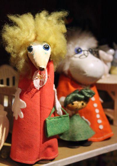 Moomin figures made by Atelier Fauni, Finland 1950's. Suomenlinna Toy Museum, Helsinki, Finland. #muumi #moomin #fauni #toymuseumhelsinki #lelumuseohelsinki