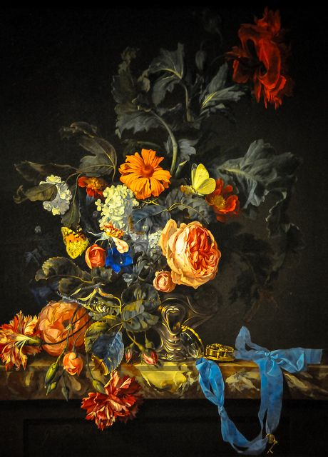 Willem van Aelst - Flower Still Life with a Watch, 1663 from the Royal Picture Gallery in Mauritshuis - The Hague and displayed at the National Art Gallery Washington DC, via Flickr.: