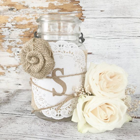Sweet DIY Rustic Wedding Centerpieces with your Monogram. These burlap jar wraps would be perfect for any shabby, rustic, vintage, or country