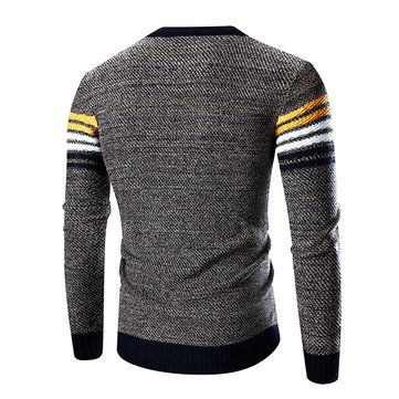 Mens Fashion Casual Stripe O-neck Collar Sweater Spell Color Pullover Knitted Sweater at Banggood