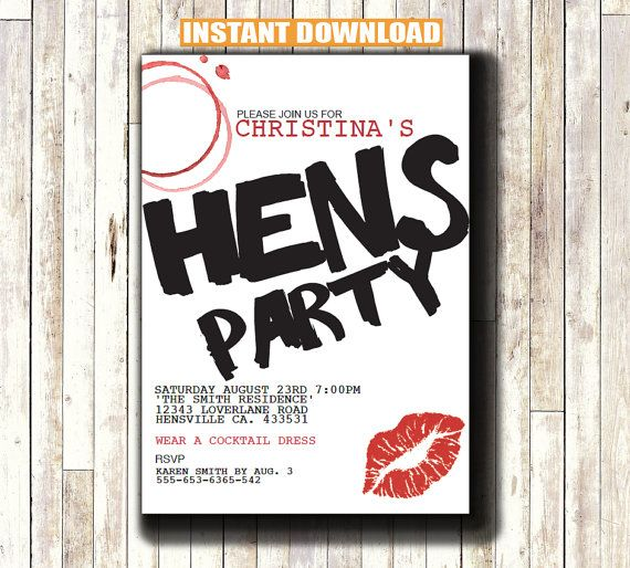 Hens Party Invitation INSTANT DOWNLOAD Printable