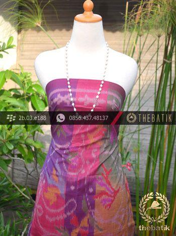 Kain Tenun Indonesia Motif Bouquet Pelangi Pink | Indonesian Ikat Fabric Pattern Design http://thebatik.co.id/kain-batik-bahan/