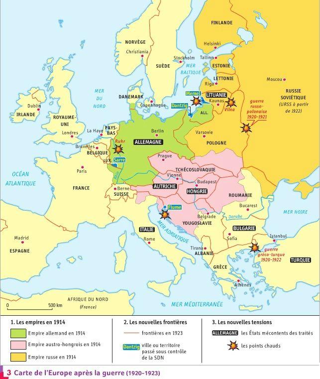 Carte De Leurope Apres La Premiere Guerre Mondiale.Histoire Chapitre 2 Carte Europe Histoire Geographie
