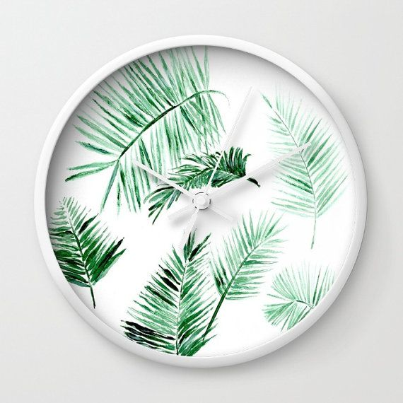 Palm Leaf Wall Clock, modern wall clock, tropical wall clock, white wall clock, palm wall clock. palm leaf clock, palm leaves clock